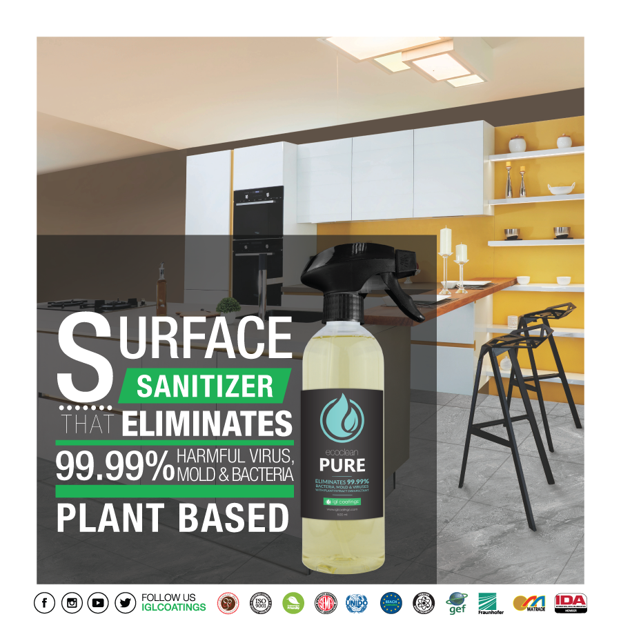 surface sanitizer ecoclean pure eliminates 99.99% harmful bacteria, virus, mold at home and office